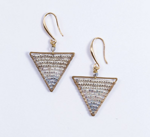 Triangle clear beads Earrings JE014