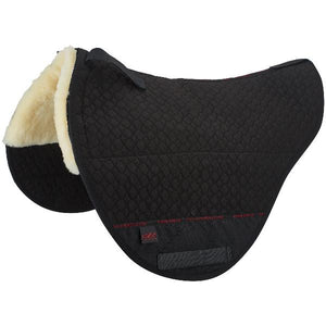 Treeless Saddle pad half lined with genuine 100% Merino Lambskin. Suitable for Treeless saddles and Cloud Special Bareback pads
