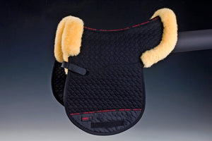 Horse Dream UK Sheepskin GP Numnah. Quilted cotton numnah, half lined with sheepskin with border