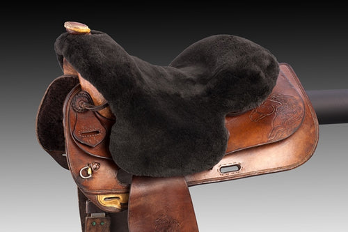 Horsedream sheepskin seat saver for Western saddles - Brown