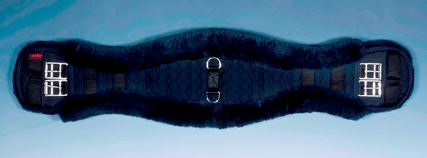 Horse Dream UK Sheepskin Dressage girth - Contoured to fit your horse. Fully lined with genuine Merino Lambskin. Manufactured by Christ Lammfelle