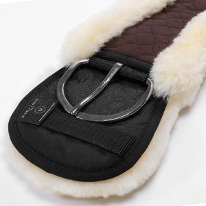 Western Sheepskin Cinch - Contoured - Brown/natural
