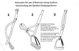 Barefoot buckle down stirrup leather explanatory diagram