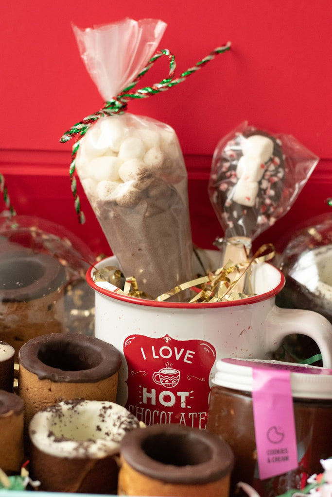 hot chocolate, chocolate chip cookies, cookie shots, holiday packages, care package