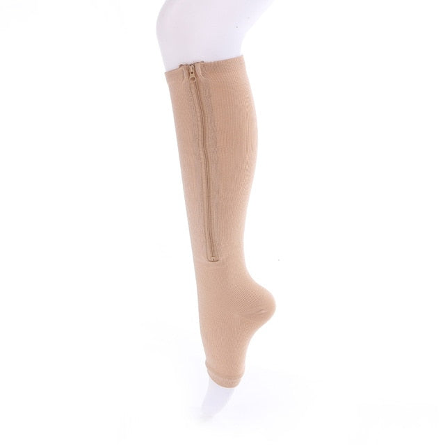 Zip-Up Open-Toe Compression Socks
