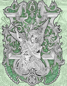Angel Gray And Green Artwork Print