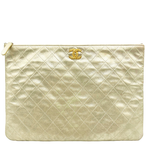 Metallic Quilted Large Zip Pouch