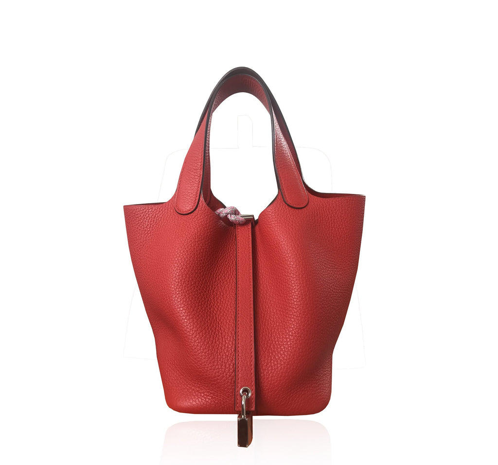 """Picotin Lock"" Bag in Red Clemence Leather"