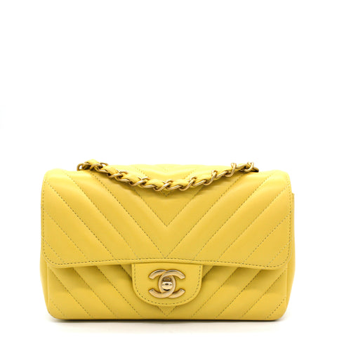 Classic Flap Mini Chevron Lambskin Yellow