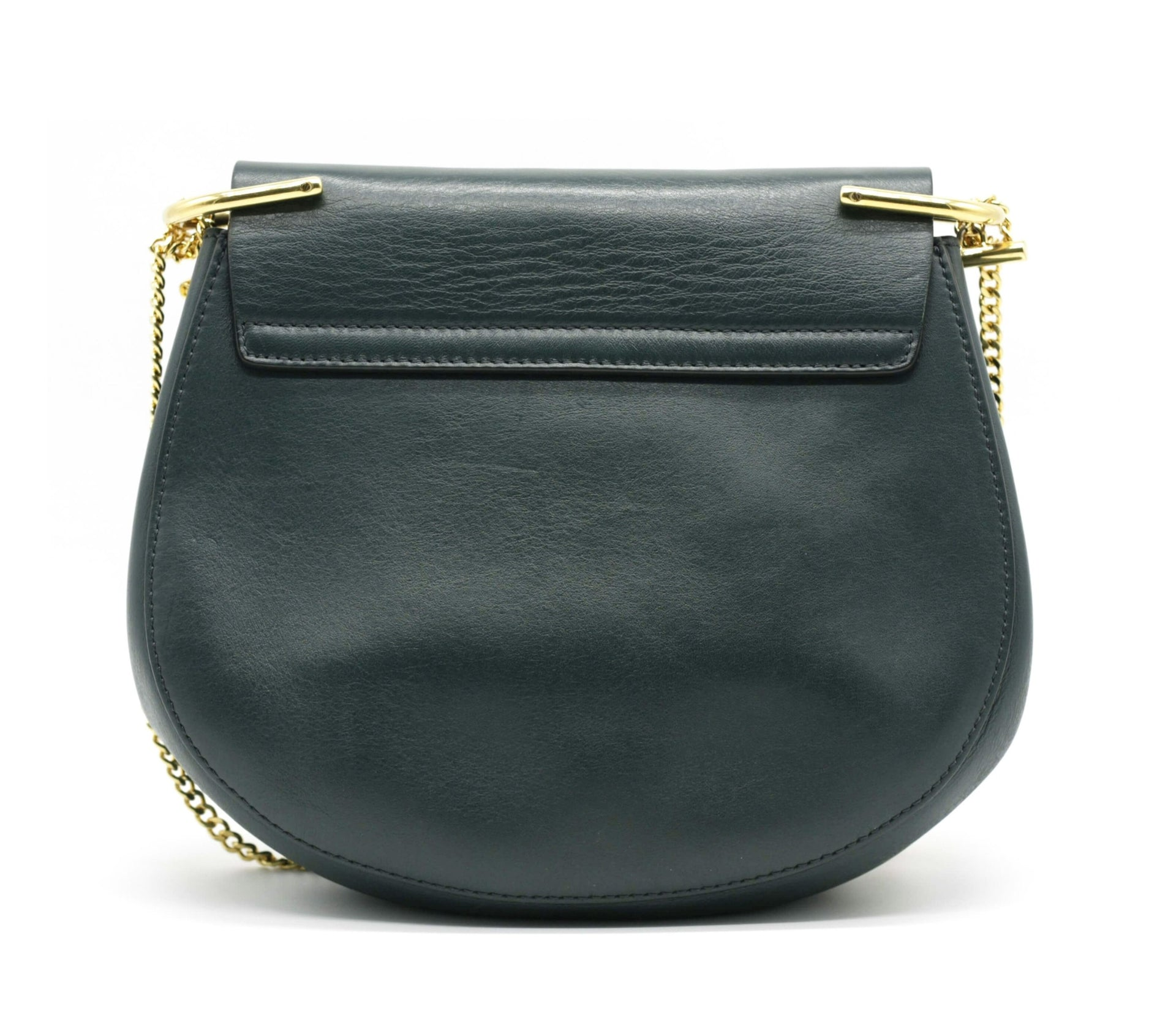 Chole Intense Green Drew saddle bag in pony and calfskin