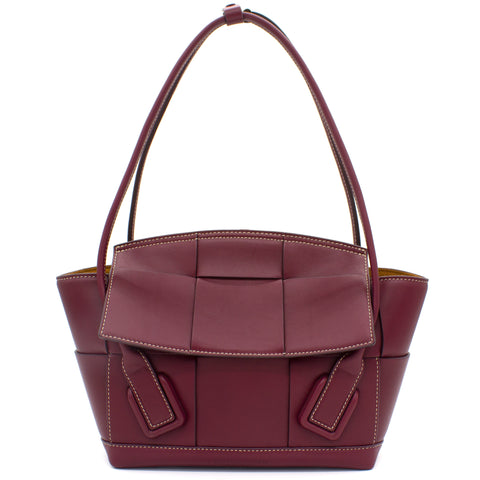 French Calfskin Small Intrecciato Arco 33 Bordeaux
