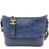 Calfskin Quilted Small Gabrielle Hobo Blue