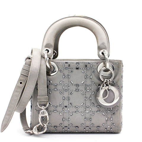 Satin Crystal Cannage Mini Lady Dior Grey