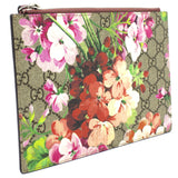 GG Supreme Monogram Small Blooms Zip Pouch Antique Rose