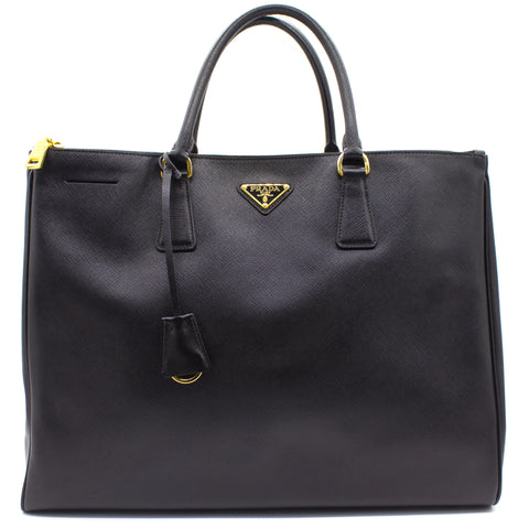 Saffiano Lux Large Galleria Double Zip Tote Nero Black