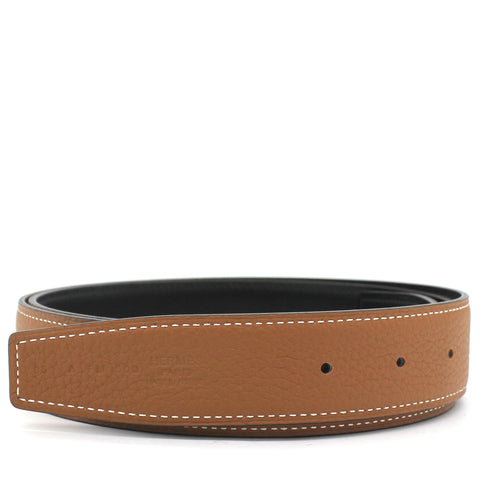 Reversible Leather Strap 32mm Noir/Gold Size 95