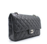 Chanel Black Quilted Caviar Leather  Classic Double Flap Bag