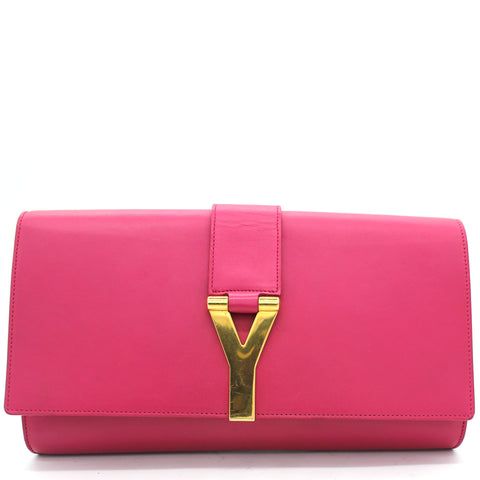 Fushia Leather Ligne Y Clutch Bag