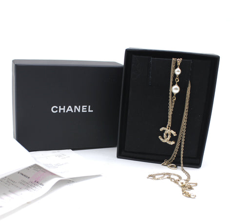 Chanel Light Gold Twisted Crystal CC Faux Pearl Necklace