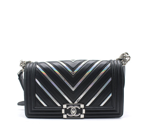 Lambskin Iridescent PVC Chevron Quilted Medium Boy Flap Bag