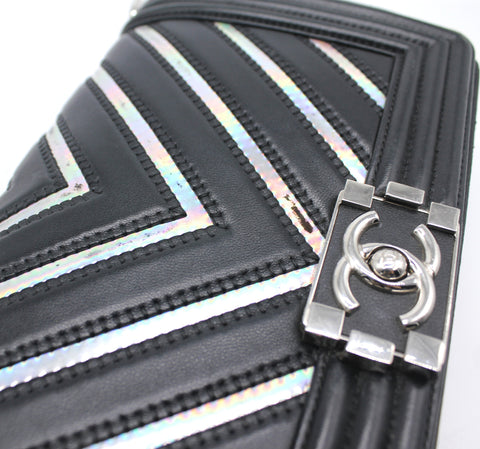 Chanel Lambskin Iridescent PVC Chevron Quilted Medium Boy Flap Bag