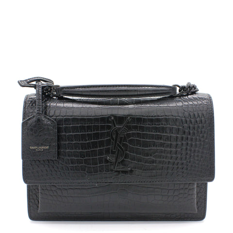 Calfskin Crocodile Embossed Medium Monogram Sunset So Black