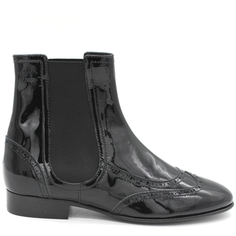 Patent Leather Elastic Short Boots Black 39.5