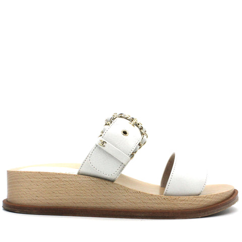 White Wooden Buckle Chain Mule Sandals
