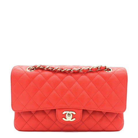 Red Quilted Caviar Leather Classic Double Flap Bag