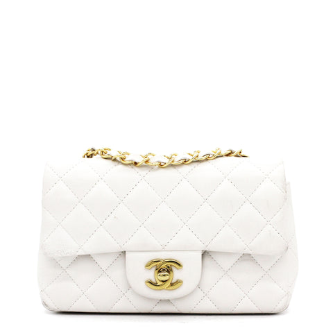 Classic Flap Mini Quilted Lambskin White