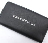 Balenciaga Everyday Large Continental Leather Logo Wallet