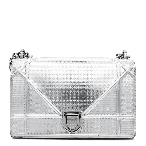 Medium Metallic Diorama Bag Silver