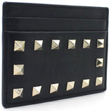 Rockstud leather cardholder Black