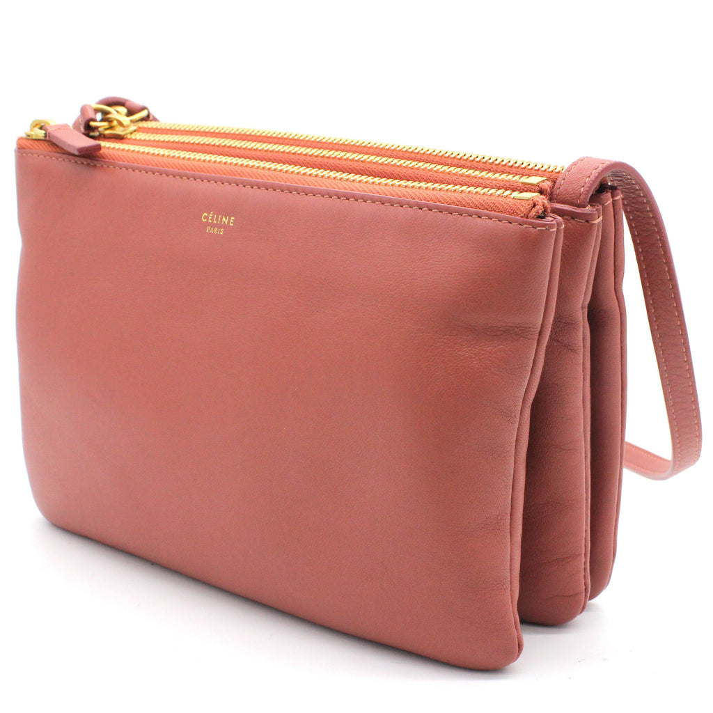 Dust Pink Leather Small Trio Crossbody Bag