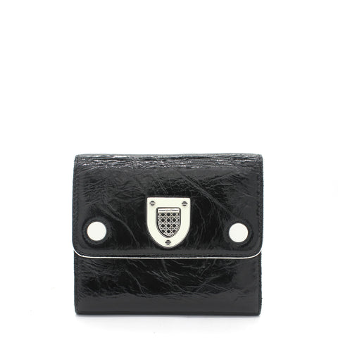 Patent Leather Diorama Wallet Black