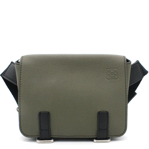 Grained-leather belt bag Green