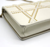Diorama Wallet on Chain in White Studded Leather