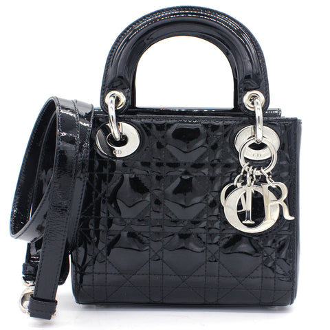 Mini Lady Dior Bag in black Patent Leather