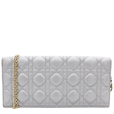 Cannage Lady Dior Clutch on Chain Pearly Grey