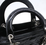 Christian Dior Medium Lady Dior in Black Patent Leather