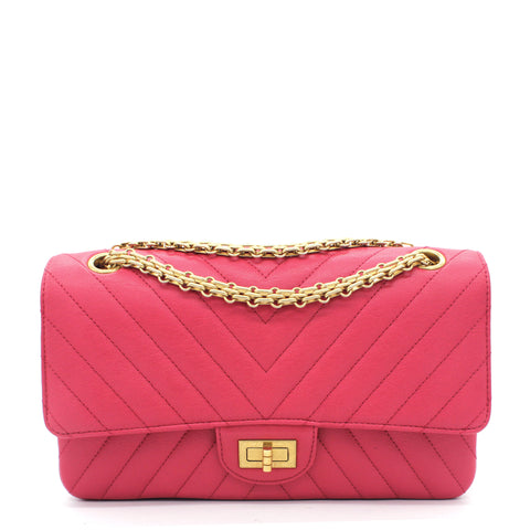 Fushia Chevron Reissue Medium Calfskin Flap Bag