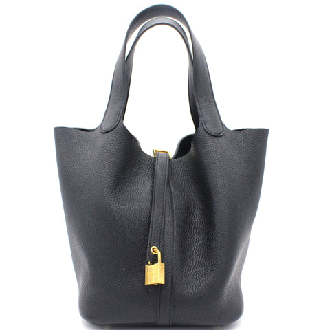 Togo Leather Picotin Lock MM Bag 22 Noir