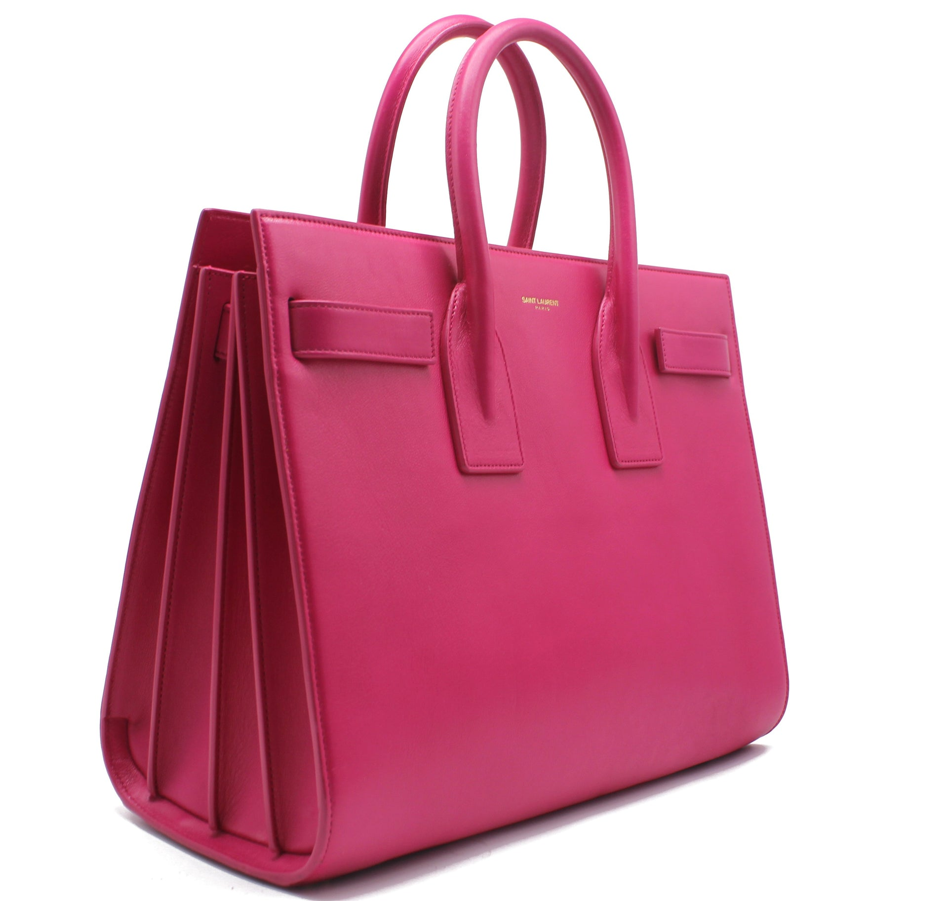 Saint Laurent Sac de Jour Medium Fuchsia Pebbled Leather Tote
