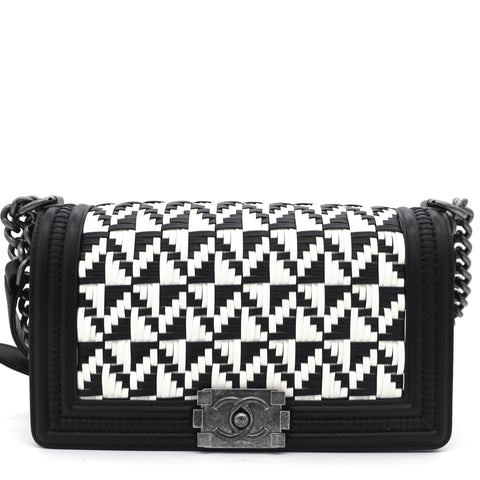 Bi Color Woven Leather Medium Bristol Limited Edition Boy Bag