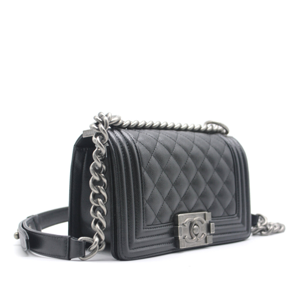 Chanel Boy Flap Bag Quilted Caviar Small