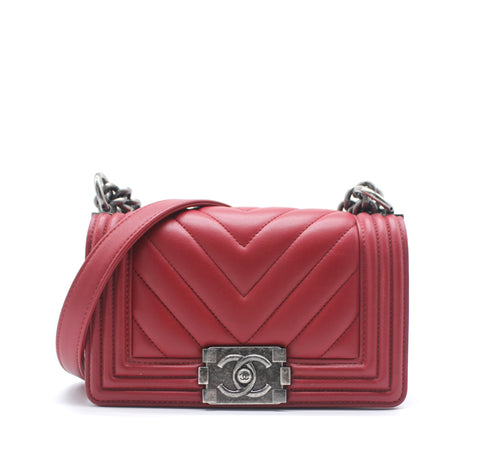 Chanel Boy Flap Bag Chevron Clafskin Small