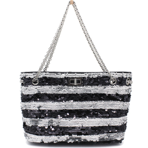 Black/Grey Striped Sequins Small Reissue Tote