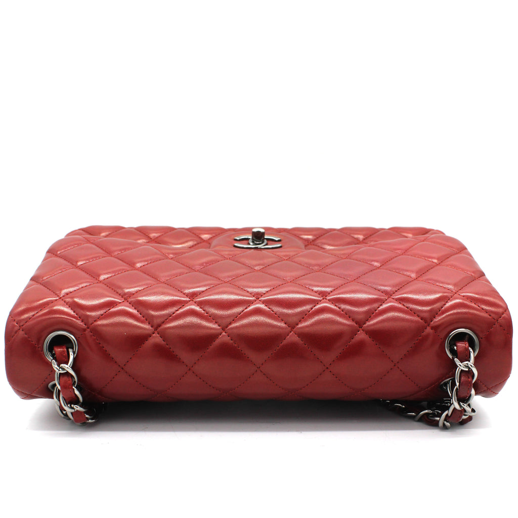 Classic Jumbo Double Flap Red Lambskin Leather Bag