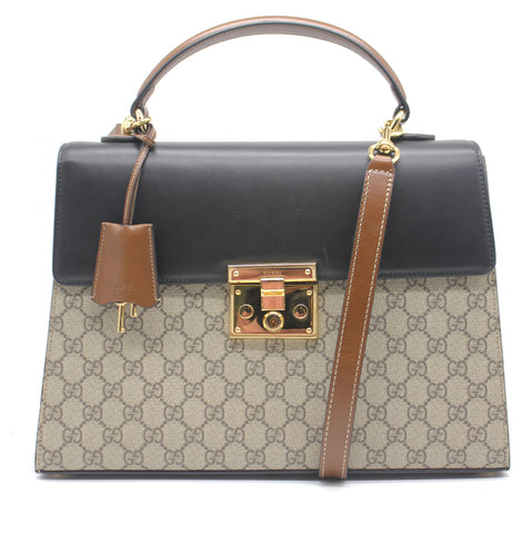 Gucci GG Supreme Padlock Top Handle Bag Medium