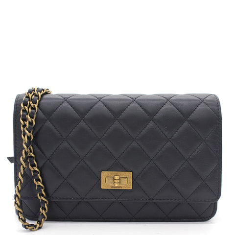 Aged Calfskin Reissue Wallet On Chain WOC Black